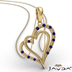 Two Heart Round Sapphire Gemstone Pendant Necklace 14k Gold Yellow <Dcarat>