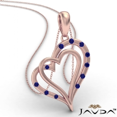Two Heart Round Sapphire Gemstone Pendant Necklace 14k Rose Gold <Dcarat>