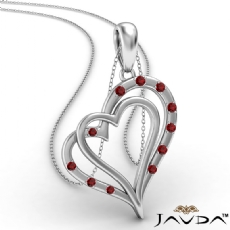 Two Heart Round Ruby Gemstone Pendant Necklace 18k Gold White <Dcarat>