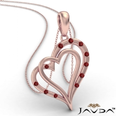 Two Heart Round Ruby Gemstone Pendant Necklace 14k Rose Gold <Dcarat>