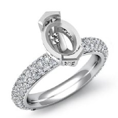 1.40Ct Oval Pave Diamond Engagement Women Ring Setting 14k White Gold Semi Mount