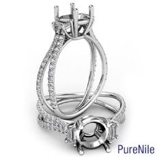 Three Stone Split Shank Round Semi Mount Diamond Engagement Ring 14k Gold 0.80Ct