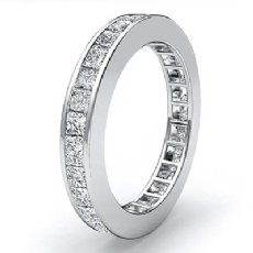 3mm Womens Eternity Band Princess Channel Set Diamond Ring 14k White Gold 1.5Ct