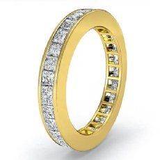 3mm Womens Eternity Band Princess Channel Set Diamond Ring 18k Gold Yellow  (1.5Ct. tw.)