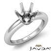 <Gram>  Round Diamond Engagement Solitaire 6 Prong Ring Semi Mount 14k White Gold Setting - javda.com