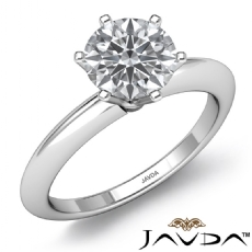 Knife Edge Classic Solitaire Round diamond engagement Ring in 14k Gold White