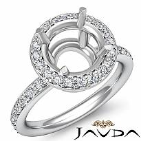 Round Cut Diamond Engagement Semi Mount Ring 14K White Gold Halo Setting 0.53Ct