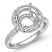 Round Cut Diamond Engagement Semi Mount Ring 14k White Gold Halo Setting 0.53Ct - javda.com