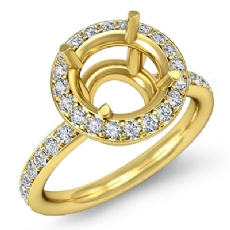 Round Cut Diamond Engagement Semi Mount Ring 18k Gold Yellow Halo Setting  (0.53Ct. tw.)
