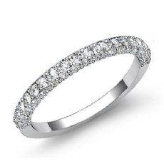 0.75Ct Pave Diamond Wedding Band Matching Set 14k White Gold