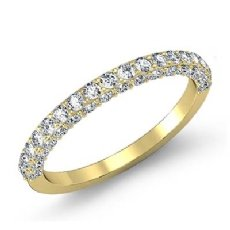 Pave Diamond Wedding Band Matching Set 18k Gold Yellow (0.75Ct. tw.)