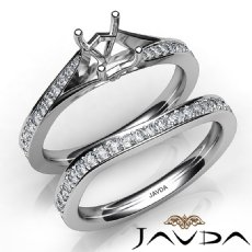 Pave Diamond Engagement Ring Oval Semi Mount Bridal Set 14K White Gold 0.90Ct.