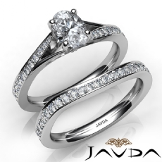 4 Prong Bridal Set Pave Oval diamond engagement Ring in 14k Gold White