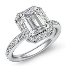 Basket Halo Pave Sidestone Emerald diamond engagement Ring in 14k Gold White