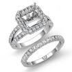 2.38Ct Diamond Engagement Ring Asscher Wedding Bridal Set 14k White Gold Semi Mount - javda.com