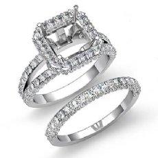 2.38Ct Diamond Engagement Ring Asscher Wedding Bridal Set 14K W Gold  Semi Mount