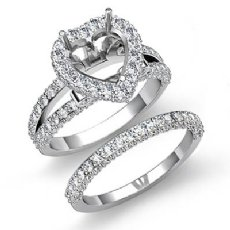 2.75Ct Pave Diamond Engagement Ring Heart Bridal Set 14K White Gold Semi Mount