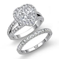 Circa Halo Pave Bridal Set Heart diamond engagement Ring in 14k Gold White