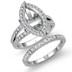2.8C Diamond Engagement Ring Marquise Split Shank Bridal Setting 14K White Gold