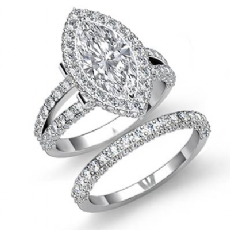 Halo Bridal Set Pave Setting Marquise diamond engagement Ring in 14k Gold White