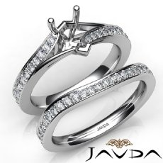 Pave Diamond Engagement Ring Pear Semi Mount Bridal Set 14K White Gold 0.90Ct.
