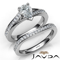 Pave Setting Bridal Set Pear diamond engagement Ring in 14k Gold White