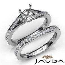 Pave Diamond Engagement Ring Princess Semi Mount Bridal Set 14K W Gold 0.90Ct.