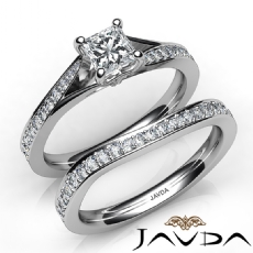 4 Prong Sidestone Bridal Set Princess diamond engagement Ring in 14k Gold White