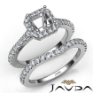 Diamond Asscher Cut Semi Mount Engagement Ring Bridal Set 14k White Gold 1Ct - javda.com