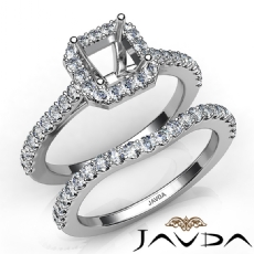 Diamond Asscher Cut Semi Mount Engagement Ring Bridal Set 14K White Gold 1.0Ct.