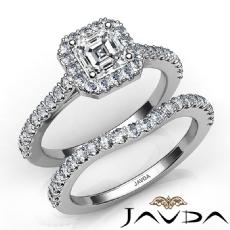 U Cut Pave Halo Bridal Set Asscher diamond  Ring in 14k Gold White