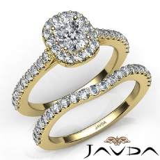 Halo Pave Side Stone Bridal Cushion diamond engagement Ring in 14k Gold Yellow
