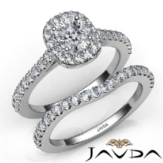 Halo Pave Side Stone Bridal Cushion diamond engagement Ring in 14k Gold White