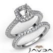 Diamond Cushion Cut Semi Mount Engagement Ring Bridal Set 14k White Gold 1Ct - javda.com