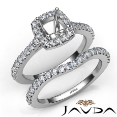 Diamond Cushion Cut Semi Mount Engagement Ring Bridal Set 14K White Gold 1.0Ct.