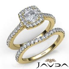 U Cut Pave Setting Bridal Cushion diamond engagement Ring in 14k Gold Yellow