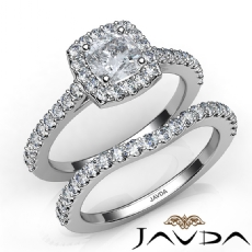 U Cut Pave Setting Bridal Cushion diamond engagement Ring in 14k Gold White