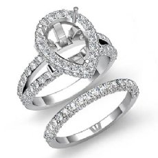 2.72Ct Diamond Vintage Engagement Ring Pear Bridal Set 14K White Gold Semi Mount