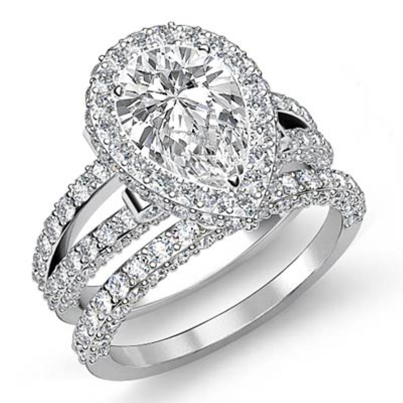 Celebrity Wedding Bridal Set Pear Diamond Engagement Ring