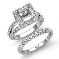 2.78C Princess Halo Diamond Semi Mount Engagement Ring Bridal Set 14K White Gold