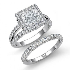 Halo Bridal Set Sidestone Princess diamond engagement Ring in 14k Gold White