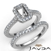 Diamond Emerald Cut Semi Mount Engagement Ring Bridal Set 14k White Gold 1Ct - javda.com