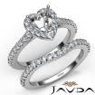 Diamond Heart Cut Semi Mount Engagement Ring Bridal Set 14k White Gold 1Ct - javda.com