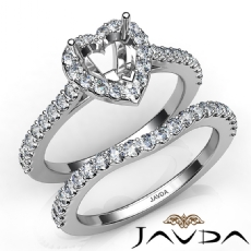Diamond Heart Cut Semi Mount Engagement Ring Bridal Set 14K White Gold 1.0Ct.