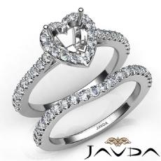 Diamond Heart Cut Semi Mount Engagement Ring Bridal Set 14K White Gold 1.0Ct.