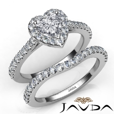 Halo U Cut Pave Bridal Set Heart diamond engagement Ring in 14k Gold White