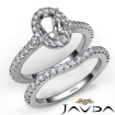 Diamond Oval Cut Semi Mount Engagement Ring Bridal Set 14k White Gold 1Ct - javda.com