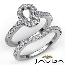 Diamond Oval Cut Semi Mount Engagement Ring Bridal Set 14K White Gold 1.0Ct.