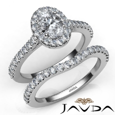 Halo Bridal Set U Cut Pave Oval diamond engagement Ring in 14k Gold White