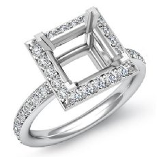0.55Ct Diamond Engagement Ring Princess Semi Mount Halo Setting 14k White Gold